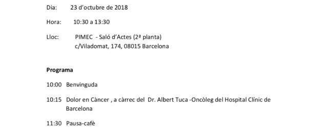Jornada: Eines per millorar l'atenció als pacients amb càncer i els seus familiars des de l'oficina de farmàcia